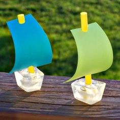 Keep cool this summer with fun ice cube crafts for kids, including these cool ice cube sail boats!