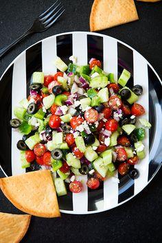 Greek Salad - cucumbers, grape tomatoes, olives, red onion, bell pepper, feta cheese and lemon vinaigrette.