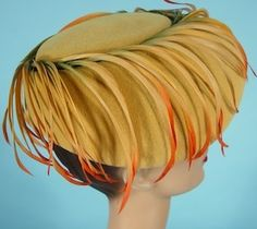 1958 Robinson's, California, Made in France Wool Felt Hat with Graded Colored Feathers!