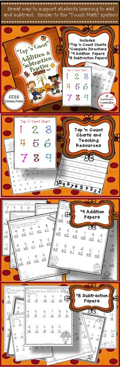 """These 9 addition and 8 Subtraction worksheets are perfect for Fall practice!  A full explanation on how to practice the tapping """"places"""", a large number chart, & Counting backwards sheets (pre-Subtraction practice) are included. http://www.teacherspayteachers.com/Product/Addition-and-Subtraction-Fall-Worksheets-with-Tap-n-Count-points-CCSS-1464134"""
