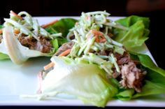 Crock Pot Pulled Pork Lettuce Wraps with Broccoli Slaw