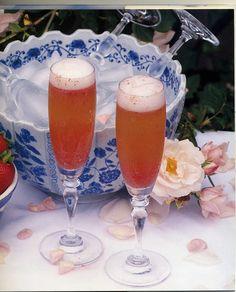 Hibiscus Tea Champagne Cocktail (Recipe: http://bridal-shower.ws/bridal-shower-recipes-hibiscus-tea-champagne-cocktail/)