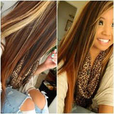 Long brown hair with blonde highlights and dark brown lowlights