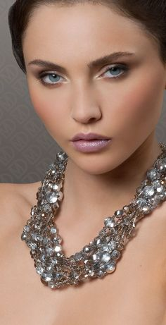 Statement necklace in grey Swarovski crystal.