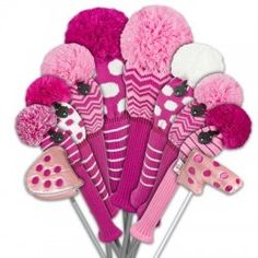 Breast cancer golf headcovers