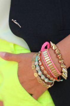 neon + stacked bracelets