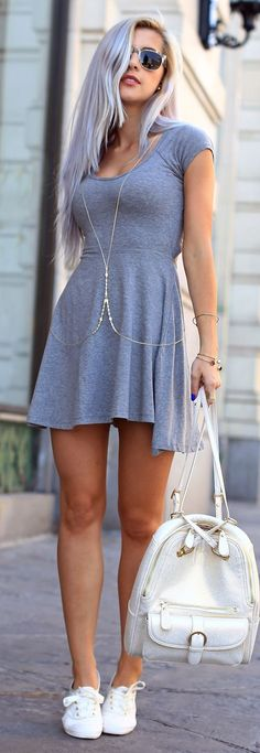 Gray dress and white sneakers