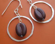 Coffee Bean Earrings by sudlow on Etsy, $33.00