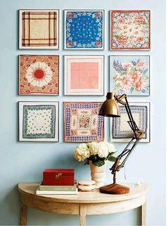 decor, wall art, quilt, frames, framed fabric, display, scarves, hous, vintage handkerchiefs
