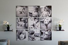 Make an eye-catching display using all black-and-white photographs of the same size--with frames or no frames!