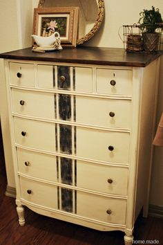 French Grain Sack dresser - Awesome! & An antique gravy boat as a decor piece? Who'd have thought it!