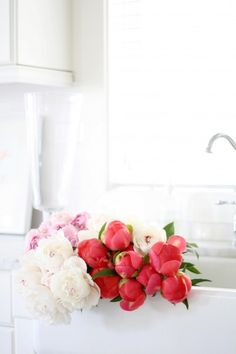 #pink and white peonies...