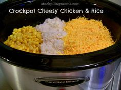 Crockpot Cheesy Chicken & Rice. Tried it. It was ok but instantly got better when I added rotel & made a tortilla casserole out of it then baked it. Since there was so much left over, I put it back in the crockpot, added a can of chicken broth, more rotel, cumin, garlic salt & a block of velveeta for a yummy chicken queso dip! Family loved it!~Steph