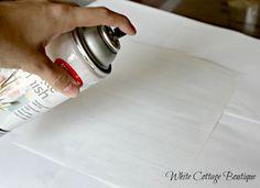 Using Krylon Finishing Spray to transfer image to wood by WhiteCottageBoutique.com