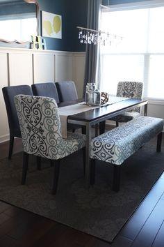 Dinner with friends dining rooms, dine room, dining room table with bench, dining room tables, dining chairs, dining room chair slipcovers, chair bench, bench dining table, dining room chairs diy