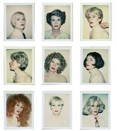 nine polaroids of andy in drag