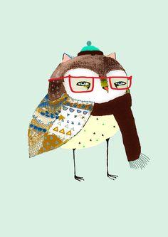 Art Print. Little Winter Owl. limited edition art print by Ashley Percival.. $40,00, via Etsy.