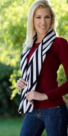 """Jersey Infinity Scarves - Girl Charlee Fabrics   Was told to use a 2 yard length & cut 3 scarves lengthwise from the 2 yard length. So each unsewn scarf ends up being 19""""-20"""" wide by 72"""" long. Though I have seen them longer and shorter."""