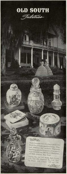1947 ad for perfume depicting the old south..beautiful