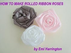 Ribbon Rose tutorial. Finally found a tutorial that helps me place my gingers so I can do this right. Paper Roses, How To Ribbon Headband, Roll Ribbon, How To Make Ribbon Flowers, Ribbon Roses Tutorial, Rose Tutori, How To Make Fabric Roses
