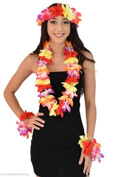 ISLAND STYLE CLOTHING Multi-Coloured Lei SET Floral Necklace Hawaiian Fancy Dress Costume: Clothing #leiset #hulagirl #luauparty #fancydress #cruise #lei #hawaiiannecklace #springbreak #hensnight #bacherloretteparty #hawaiianaccessories