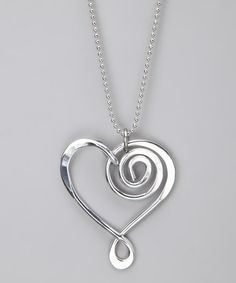 Take a look at this Silver Large Heart Pendant Necklace by aluminations on #zulily today!