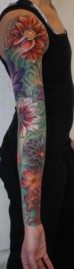 tattoo ideas, color flower, background, sleeve tattoos, sleev tattoo, flower sleeve color, a tattoo, dahlia, bright colors