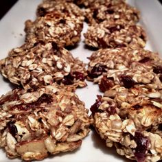 Healthy protein snack. Great for pre/post workout or breakfast on the go.  My mixture- pulled from other pinteresters:  3 scoops vanilla whey protein powder (metabolic drive is my fav) 2 c organic oats 1/2 c ground flax 1/2 c dried cranberries 1/2 c sliced almonds 1/2 c pumpkin seeds, unsalted 1 c soy milk, vanilla or plain 3 tbsp honey  Mix up, roll into balls and press onto greased baking sheet. 9 min at 350.