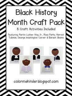 Color Me Kinder: Black History Month Pack Updated- 8 Crafts Included