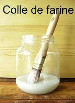 Recette de la colle de farine : 2 cuillères à soupe de farine, une cuillère à café de sucre et 2 à 3 verres d'eau. Remplace la colle type décopatch.