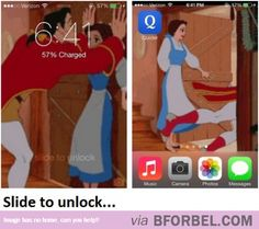 The Coolest iPhone Lock And Unlock Images Ever! Help Belle Reject Gaston Again And Again… | B for Bel