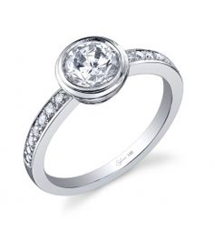 Sylvie does a great job with the full bezel setting in this mounting for a 1 carat round!