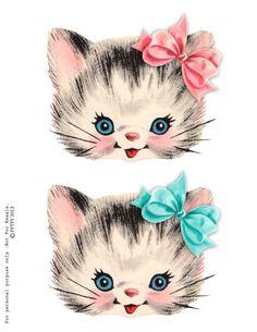 Free-vintage-kitty-clip art
