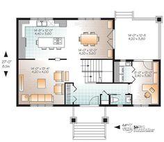Plan de Maison unifamiliale W2779-V3 (dessins drummond) Disposition des pièces à peu près comme on veut. Bonne idée salle d'eau séparée de la salle de lavage. Entrée de l'autre côté par contre. Bonne idée la rallonge pour le bureau/salle de lavage. Ça pourrait être quelque chose du genre.