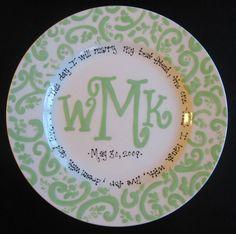 Personalized Mongram Plate - Handpainted Platter - Monogrammed Plate - Wedding Gift. $36.50, via Etsy.