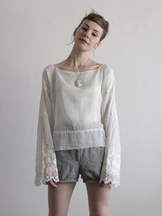 Edwardian Blouse  Gauze Linen Embroidered Sleeve  . VeraVague.etsy.com