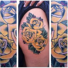 Yellow roses tattoo by jay joree at last angels dallas texas for Die hard tattoo albany oregon
