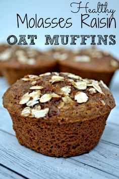 Need another new breakfast idea.  These healthy Molasses Raisin Oat Muffins are perfect with yogurt or fruit for a quick clean eating breakfast.