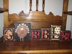 Gobble Thanksgiving Sign Word Blocks. $40.00, via Etsy.