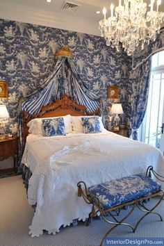 Beautiful blue toile bedroom