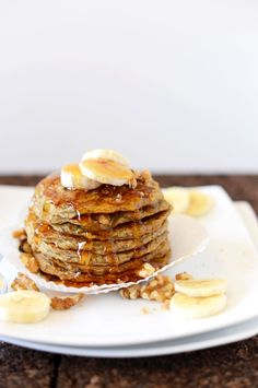 Vegan banana nut muffin pancakes.