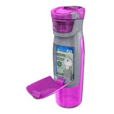 Pink water bottle for the gym that holds your personal things- house key, money, drivers license. Love this!