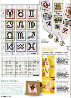 Cross-stitch Horoscope bookmarks, part 3.. color chart on part 2