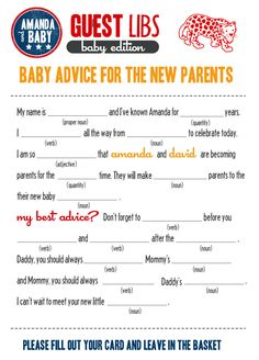 cute mad libs idea for a little baby shower fun.