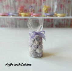 Little bag of french meringues - Lilac - Handmade miniature food. $15.00, via Etsy.