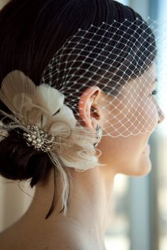Bridal Feather Fascinator with Brooch Bridal by IceGreenEyes