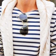 Stripes, cable knit, aviators