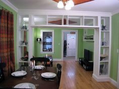 dining rooms, living rooms, bookcas, front doors, wall dividers, tv rooms, shelv, room dividers, antique doors
