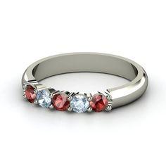 Quintessence Ring - 14K White Gold Ring with Red Garnet & Aquamarine | Gemvara