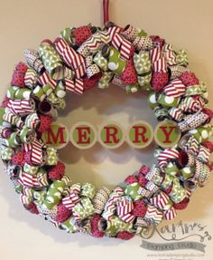 MERRY Wreath -  Karin Menghini (USA - MI) Fun project …. my version of the popular curled DSP wreath. Thanks for looking.